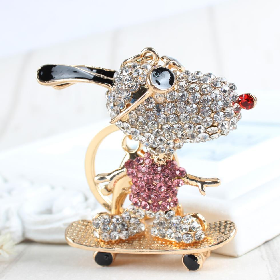 Skateboard Dog Sunglasses Lovely Charm Crystal Cute Purse Bag Keyring Car Key Chain nice Gift For Best Friend