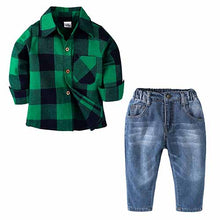 Load image into Gallery viewer, sets of clothes for spring suit boy's long sleeve plaid shirt + jeans + Vehicle Printing 3 pcs set