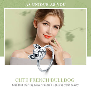 Hot Sale 100% 925 Sterling Silver Loyal Partners French Bulldog Dog Animal Female Ring for Women Fashion Jewelry SCR261
