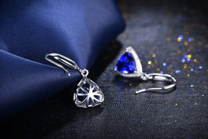 18K white gold earrings 1.8 CT Certified Genuine triangle Tanzanite drop Earrings with 0.16 ct diamond earrings - moonaro