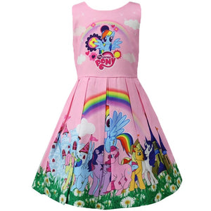 Princess Little Pony Rainbow Dresses For Girls Halloween Birthday Party Vestidos Dress Children Clothing