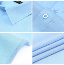 Load image into Gallery viewer, Men's Thin Twill Stripe Pattern Short Sleeve Dress Shirt Wrinkle Free Formal Business Slim Fit Light Blue Work Office Top Shirts