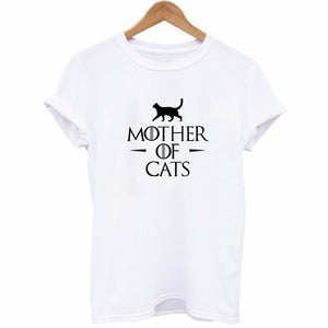 Women's T Shirt Cartoon MOTHER OF CATS Letters Animal Printed T-shirts Female Summer Casual Tee Tops White Clothing