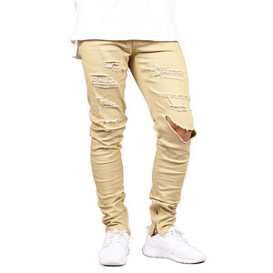 Men Jeans Fashion Stretch Slim Fit Ripped Jeans Army Green Hole Jeans For Men