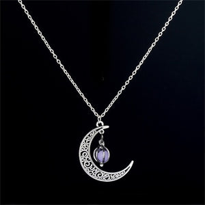 Hot Moon Glowing Necklace, Gem Charm Jewelry,Silver Plated,Halloween Gifts