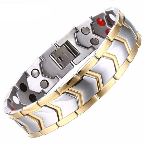 Double Row Healthy Stainless Steel Bio Magnetic therapy Bracelet Men Jewelry Fashion Energy Magnet Bracelets & Bangles