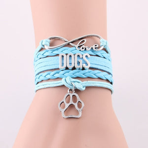 Infinity love DOGS bracelet Animal Pet paw charm leather wrap  bracelets & bangles for women jewelry