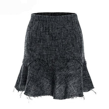 Load image into Gallery viewer, A-line ruffles short skirts women Winter tweed mini skirt offical lady Streetwear high waist autumn skirt female - moonaro