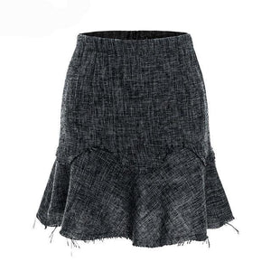 A-line ruffles short skirts women Winter tweed mini skirt offical lady Streetwear high waist autumn skirt female - moonaro