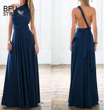 Load image into Gallery viewer, Sexy Long Dress Bridesmaid Formal Multi Way Wrap Convertible Infinity Maxi Dress Navy Blue Hollow Out Party Bandage Vestidos