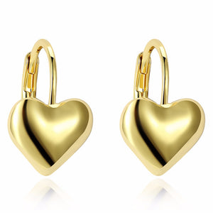 Gold Color Jewelry Fashion Cute Tiny 16mmX11mm Gold Heart Stud Earrings Gift For Girls Kids Lady - moonaro