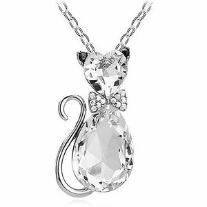 Luxury Wedding Bridal Women Cat Rhinestone Charm Pendant Necklace Party