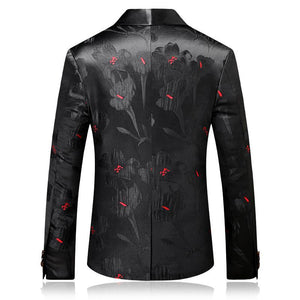 Slim Fit Men Shawl Collar Blazer Fashion Printed Male Stage Wear Casual - moonaro
