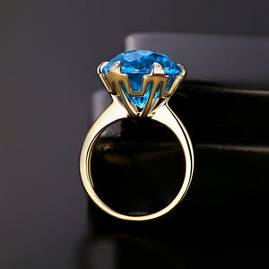 14kt Yellow White Gold 9.68ct Large 12mm Round Cut Blue Topaz H SI Diamond Engagement Ring - moonaro