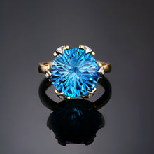Load image into Gallery viewer, 14kt Yellow White Gold 9.68ct Large 12mm Round Cut Blue Topaz H SI Diamond Engagement Ring - moonaro