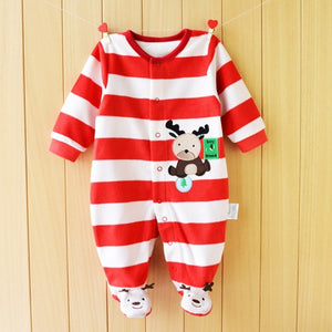 3M-12M Baby  Winter Warm Fleece Clothing Set for Boys Cartoon Monkey Infant Girls Clothes Newborn Overalls Baby Jumpsuit - moonaro