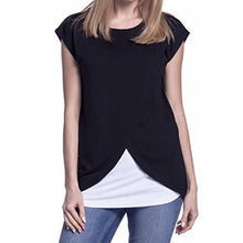 Load image into Gallery viewer, Short Sleeves Maternity Nursing Tops For Pregnant Women Breastfeeding T-Shirt Plus Size Pregnancy Clothes Feeding Clothing