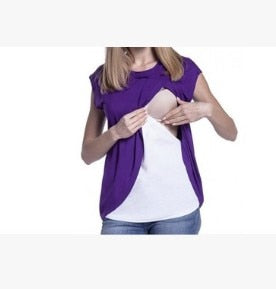 Short Sleeves Maternity Nursing Tops For Pregnant Women Breastfeeding T-Shirt Plus Size Pregnancy Clothes Feeding Clothing
