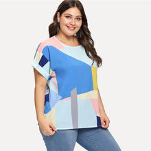 Load image into Gallery viewer, Plus Size Patchwork Roll Up Sleeve Blouse Shirt New Summer Multicolor Feminine Blouse Casual Women Tops