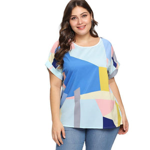 Plus Size Patchwork Roll Up Sleeve Blouse Shirt New Summer Multicolor Feminine Blouse Casual Women Tops