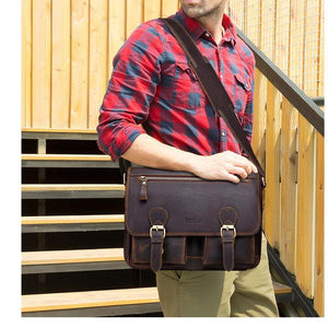 Genuine Crazy Horse Cowhide Leather Men Messenger Bag For Laptop Male Vintage Tote Shoulder Crossbody Bags Handbag