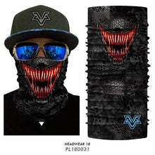 Load image into Gallery viewer, 3D Seamless Motorcycle Balaclava Magic Neck Face Mask Moto Ghost Deadpool Skeleton Head Shield Anti-UV Outdoor Bandana Sun