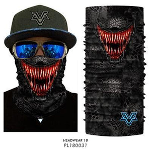 3D Seamless Motorcycle Balaclava Magic Neck Face Mask Moto Ghost Deadpool Skeleton Head Shield Anti-UV Outdoor Bandana Sun