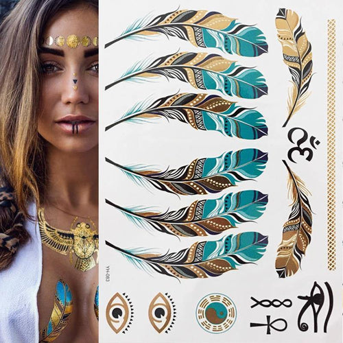 1 sheet Flash Boho Metallic Gold Feathers Shimmering Jewellery Festival Temporary Tattoo