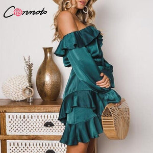 Lace Up Off Shoulder Dress Bow Long Sleeve Bow Blue Short Party Dress