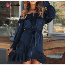 Load image into Gallery viewer, Lace Up Off Shoulder Dress Bow Long Sleeve Bow Blue Short Party Dress