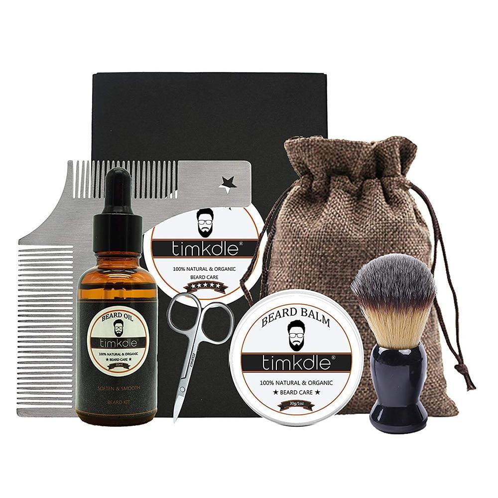 Beard Timming Products with Bag Beard Oil and Balm Styling Comb Soft Brush Stainless Steel Scissors Beard Care Massage Clean Kit - moonaro