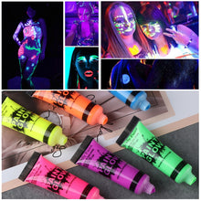 Load image into Gallery viewer, Body Paint Glow In The Dark Painting Peinture Phosphorescent Luminous Makeup Pigments Face Tattoo Zwarte Henna Color Festival - moonaro