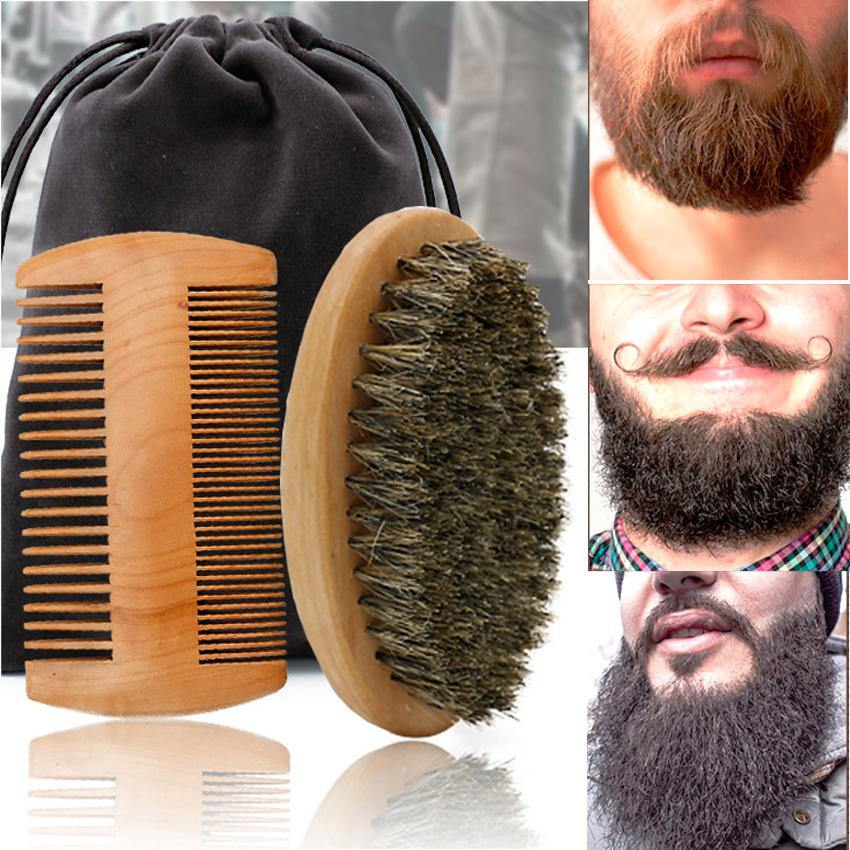 High Quality Soft Board Bristle Wood Beard Brush Hairdresser Shaving Tool Men Mustache Comb Kit With Gift Bag Beard Comb Set - moonaro