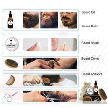 Load image into Gallery viewer, Men's Beard Grooming Kit Included Massage Beard Oil, Mustache Balm,Beard Brush,Comb  Sharp Scissors 5PCS/Set - moonaro