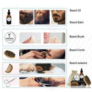 Men's Beard Grooming Kit Included Massage Beard Oil, Mustache Balm,Beard Brush,Comb  Sharp Scissors 5PCS/Set