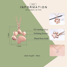 Load image into Gallery viewer, 100% 925 Sterling Silver Rose Gold Pendant Dog Footprints Necklace For Women Luxury Jewelry Birthday Gift