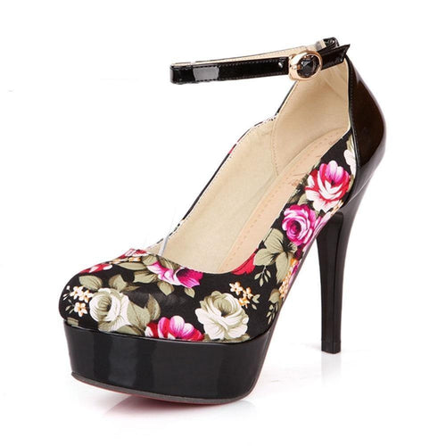 Women Flower Print Party Wedding Shoes Woman High Heel Platform Ankle Strap Buckle Up Pumps - moonaro