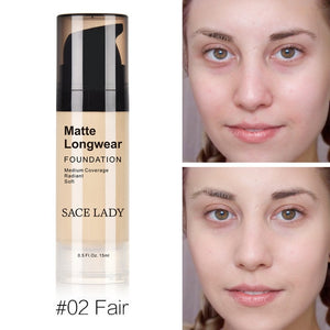 Foundation Base Makeup Professional Face Matte Finish Liquid Make Up Concealer Cream Waterproof Brand Natural Cosmetic - moonaro