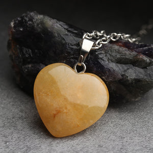 Heart Stone Pendant Necklace Rock Natural Quartz Crystal Healing Chakra Stone Pendant Necklace for Women Jewelry