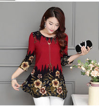 Load image into Gallery viewer, Fashion women blouse shirt plus size 4XL Chiffon red women's clothing o-neck floral Print feminine tops blusas