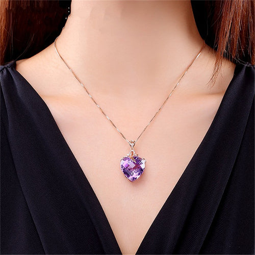 Luxury Heart Women Necklaces Pendants Purple Stone Cubic Zirconia Vintage Jewelry Bridal Wedding Engagement Necklace