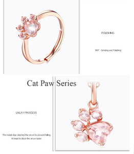 Cute Dog Paw Rose Necklace Sterling Silver Pink Crystal Bear Dog Paw Necklace Animal Paw Pendant Necklaces