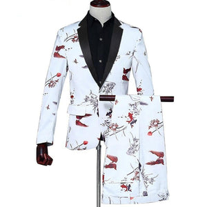 Casual Party Suits & Blazer men stage Men's blazer jacket +Pants 2 pieces/sets Double-fish Wedding suits for men