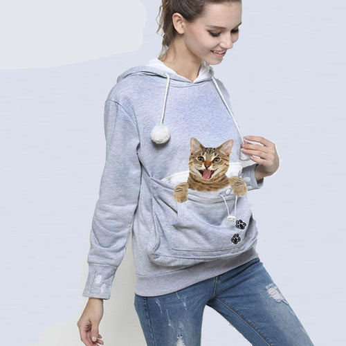 Cat Lovers Hoodie Kangaroo Dog Pet Paw Pullovers Cuddle Pouch Sweatshirt Pocket Animal Ear Hooded - moonaro