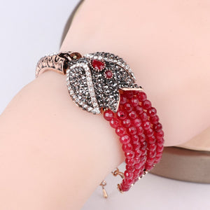 Charm Red Natural Stone Bracelets Bangles Fashion Gold Covered Gray Crystal Antique Bracelet For Women Turkish Jewelry - moonaro