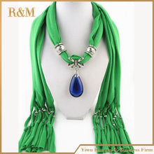 Load image into Gallery viewer, charm blue stone gemstone water drop riaindrop pendant scarf rhinestones tassels jewelry scarves - moonaro