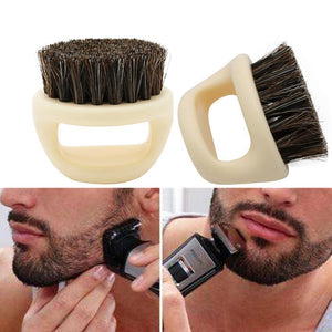 1 Pcs 100% Boar Bristle Men's Shaving Brush Portable Barber Ring Beard Brush For Facial Cleaning Mustache Tools - moonaro