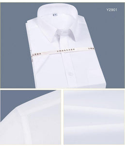 Men's Non Iron Short Sleeve Basic Dress Shirt with Chest Pocket 100% Cotton Wrinkle Resistant-Easy Care Regular-fit Formal Shirt - moonaro