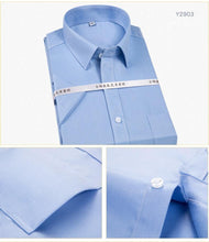 Load image into Gallery viewer, Men's Non Iron Short Sleeve Basic Dress Shirt with Chest Pocket 100% Cotton Wrinkle Resistant-Easy Care Regular-fit Formal Shirt - moonaro