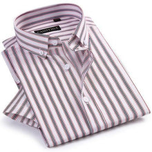 Load image into Gallery viewer, Men's Formal Short Sleeve Multi Striped Office Shirts Comfortable Slim Fit 100% Cotton Thin Casual Button Collar Dress Shirt